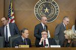 The Texas Legislative Budget Board, including (l-r) House Speaker Joe Straus, Lt. Gov. Dan Patrick and state Sen. Jane Nelson, on Dec. 1, 2016.