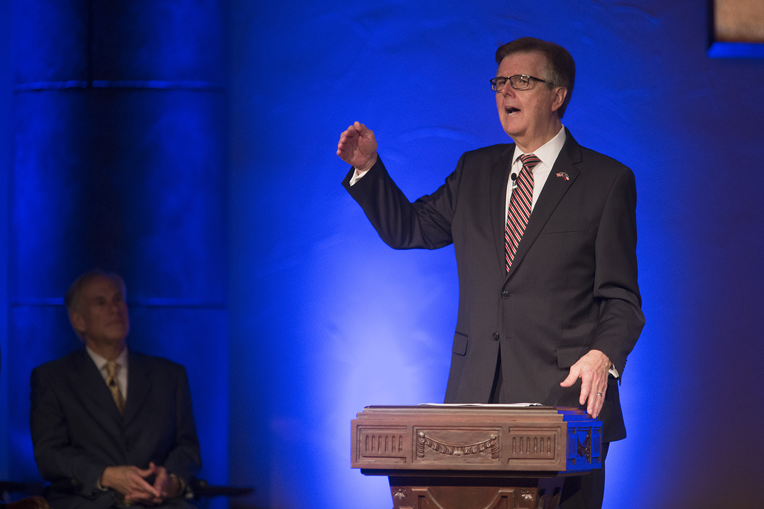 Lt. Gov. Dan Patrick speaks to the congregation before Gov. Greg Abbott signs Senate Bill 24 into law at Grace Church in The Woodlands on May 21, 2017. The legislation shields pastors' sermons from government subpoena power.