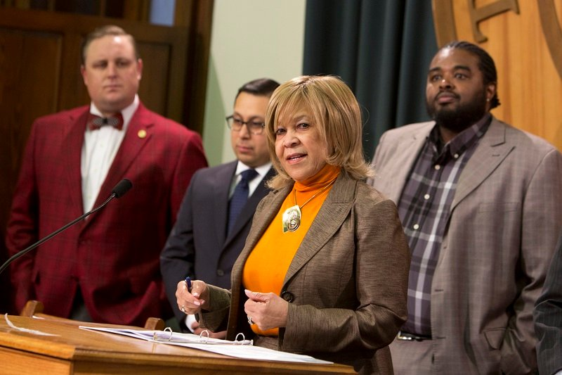 "State Rep. Helen Giddings, D-De Soto, speaks during a press conference regarding the ""lunch shaming"" bill on May 23, 2017."