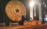 Texas House Speaker Joe Straus addresses journalists at a news conference on May 26, 2017.