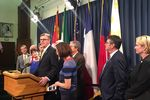 """Lt. Gov. Dan Patrick holds a press conference outside Senate chambers two hours after House Speaker Joe Straus told reportersthe House declines to negotiate with the Senate on itsproposed compromise on a """"bathroom bill."""""""