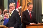 Lt. Gov. Dan Patrick, left, and House Speaker Joe Straus, right, from dueling press conferences they each held on May 26, 2017.