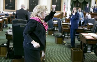 State Sen. Jane Nelson, R-Flower Mound, celebrates after the Senate passage of SB 1, the budget bill, on May 27, 2017.