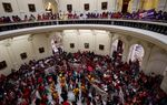 "Protestors against SB4, the ""sanctuary cities"" bill, in the rotunda of the Texas Capitol on May 29, 2017."