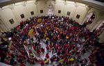 "A large crowd turns out at Texas Capitol to protest Senate Bill 4, the ""sanctuary cities"" bill, on May 29, 2017."