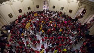 """A large crowd turns out at Texas Capitol to protest Senate Bill 4, the """"sanctuary cities"""" bill, on May 29, 2017."""