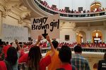 "On the last day of the 85th legislative session, protesters opposed to Senate Bill 4 — the ""sanctuary cities"" law, fill up the rotunda of the state Capitol in Austin on May 29, 2017."