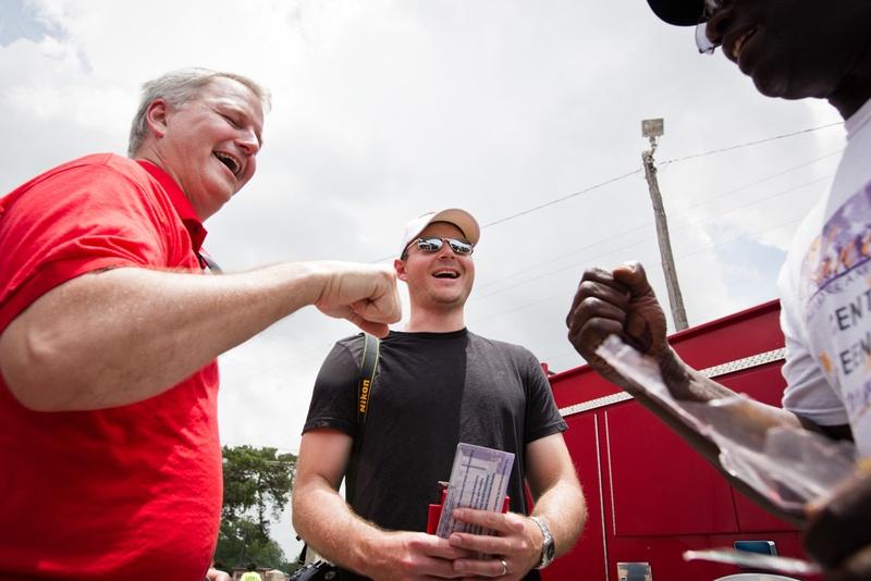 James Dickey (l.) andBrendan Steinhauserat a Juneteenth celebration in East Austin on June 21, 2014.