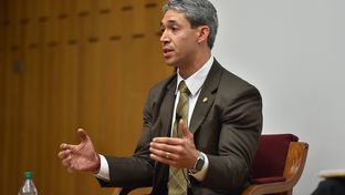 Ron Nirenberg at the Mayoral Forum on Environmental and Social Justice Issues at Trinity University's Chapman Center on March 9, 2017.