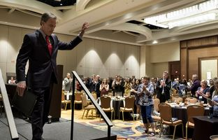 Texas House Speaker Joe Straus leaves the stage after speaking at theTexas Association of School Boards' annual summer leadership institute in San Antonio on June 14, 2017.