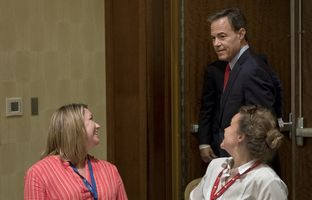 House Speaker Joe Straus speaks to school administrators and board trustees, including Eanes trustees Jennifer Salas, (l.) and Julia Webber about losing out on $1.5 billion for public schools this session, at the Texas Association of School Boards 2017 Post-Legislative Conference, held at the San Antonio Marriott Rivercenter on Wednesday, June 14, 2017.