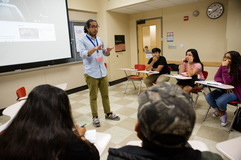 Student teacher Antonio Salmeron teaches a class as part of the UTeach Program at UT-Austin on July 10, 2017.