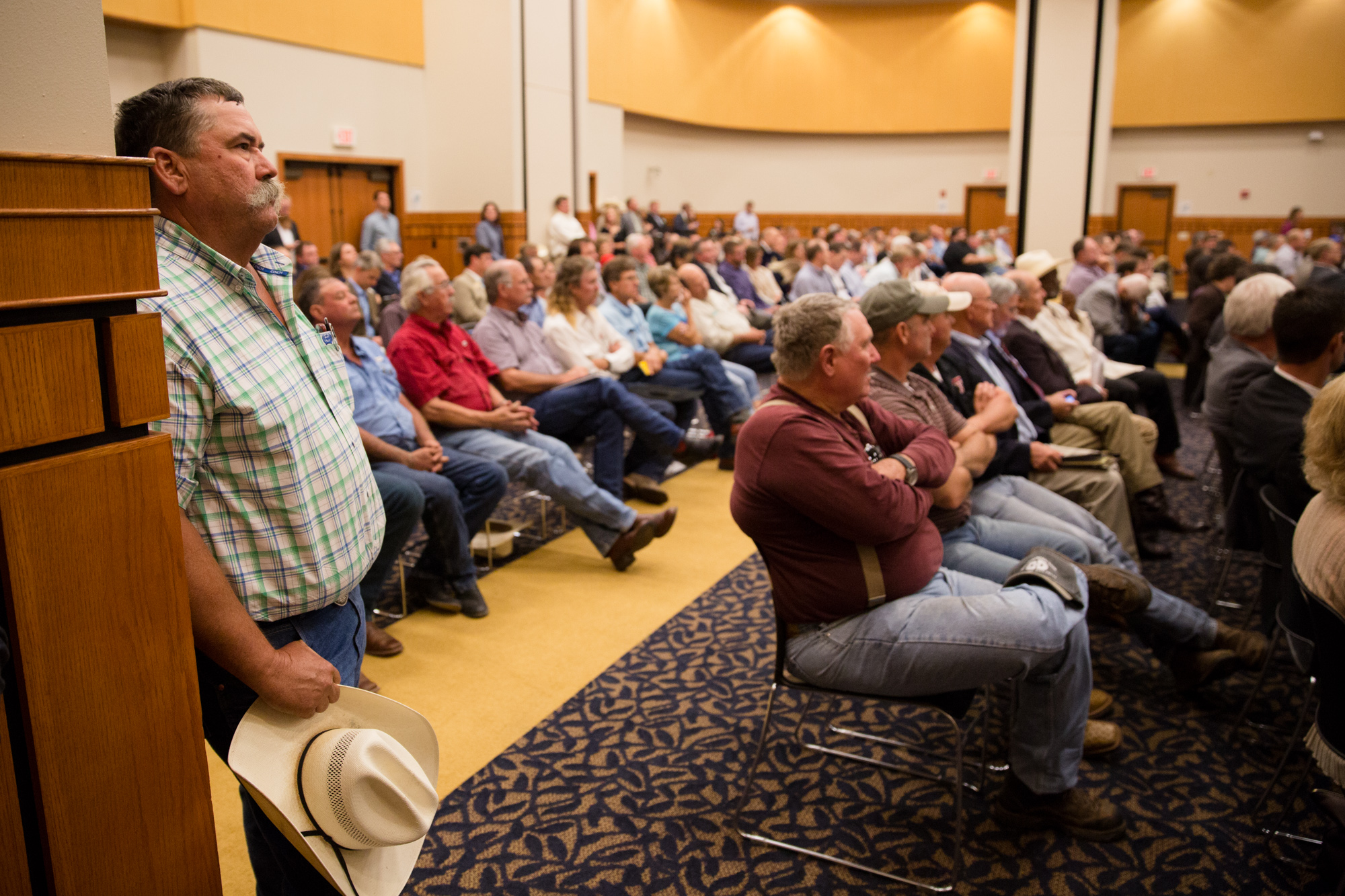 Texan farmers fill the university center at Angelo State University to speak with U.S. Rep. Mike Conaway and other members of the House Committee on Agriculture about the 2018 Farm Bill on July 31, 2017.