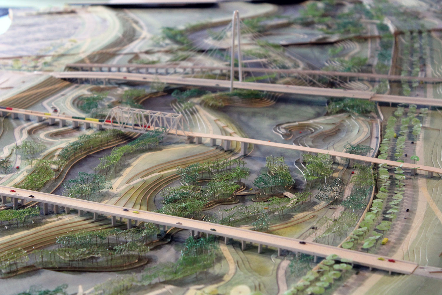 Dallas nonprofit Trinity Park Conservancy houses a large model of the urban park city leaders hope to build inside the Trinity River floodplain.