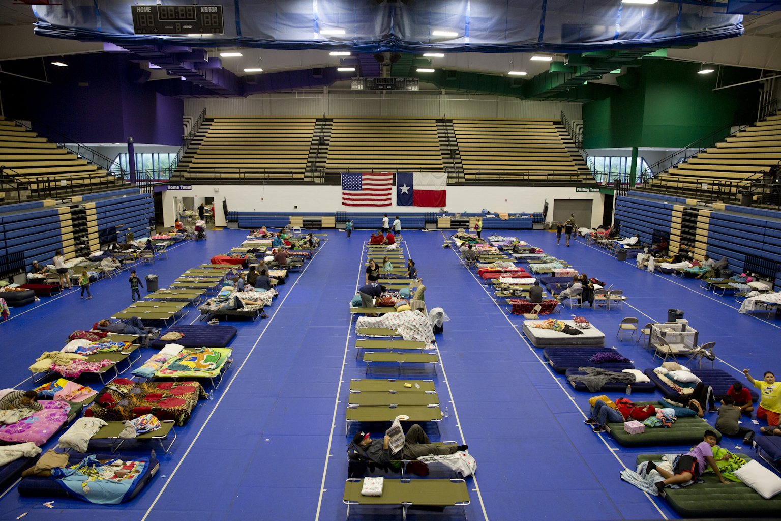 The Red Cross aided with the setup of a shelter at the Delco Center in Austin. The shelter helped several people in need after Hurricane Harvey hit the Texas coast in August.