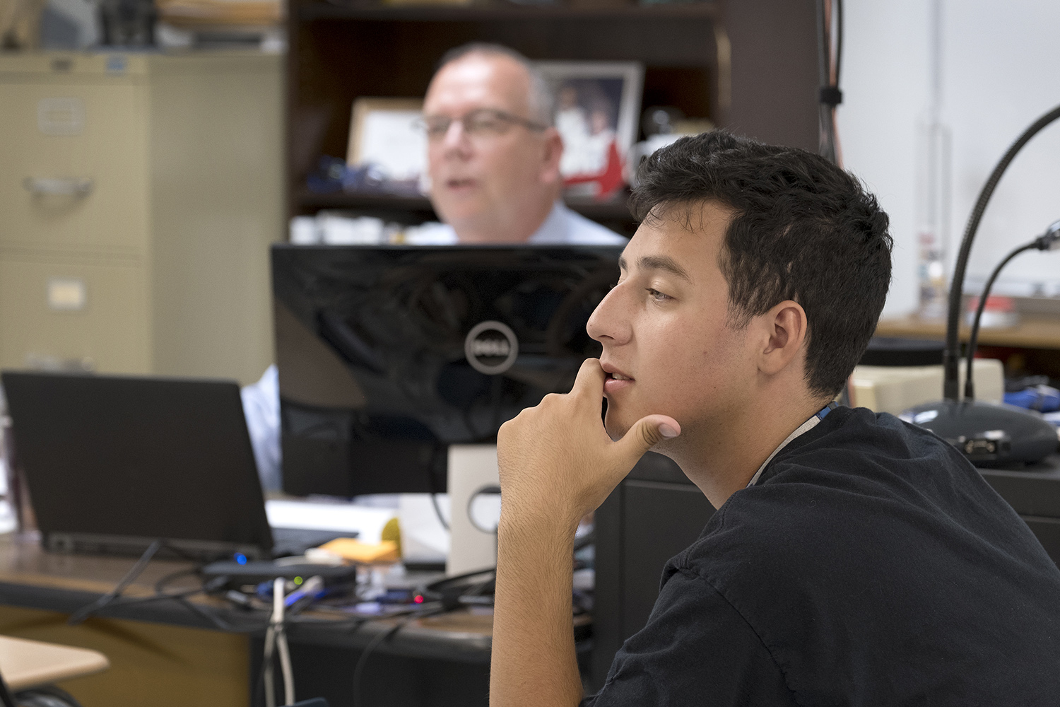 Joey Amador, a Coleman High School senior, is taking Strickland's computer science class on the first day of school.