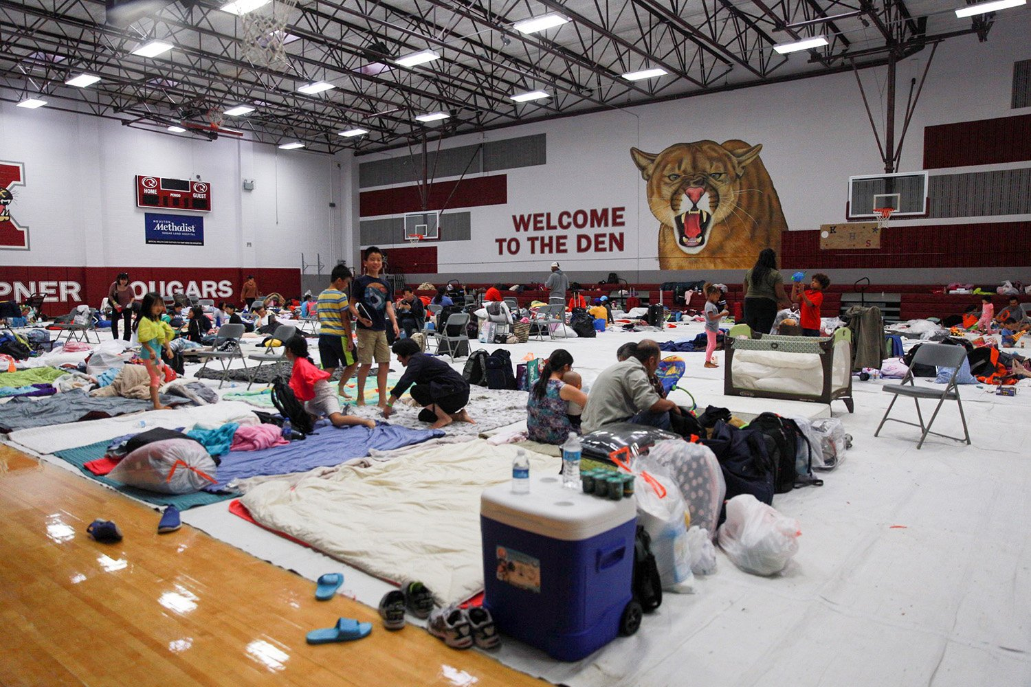 The gym at Kempner High School in Sugarland in Fort Bend Co. southwest of Houston has been converted to a shelter.