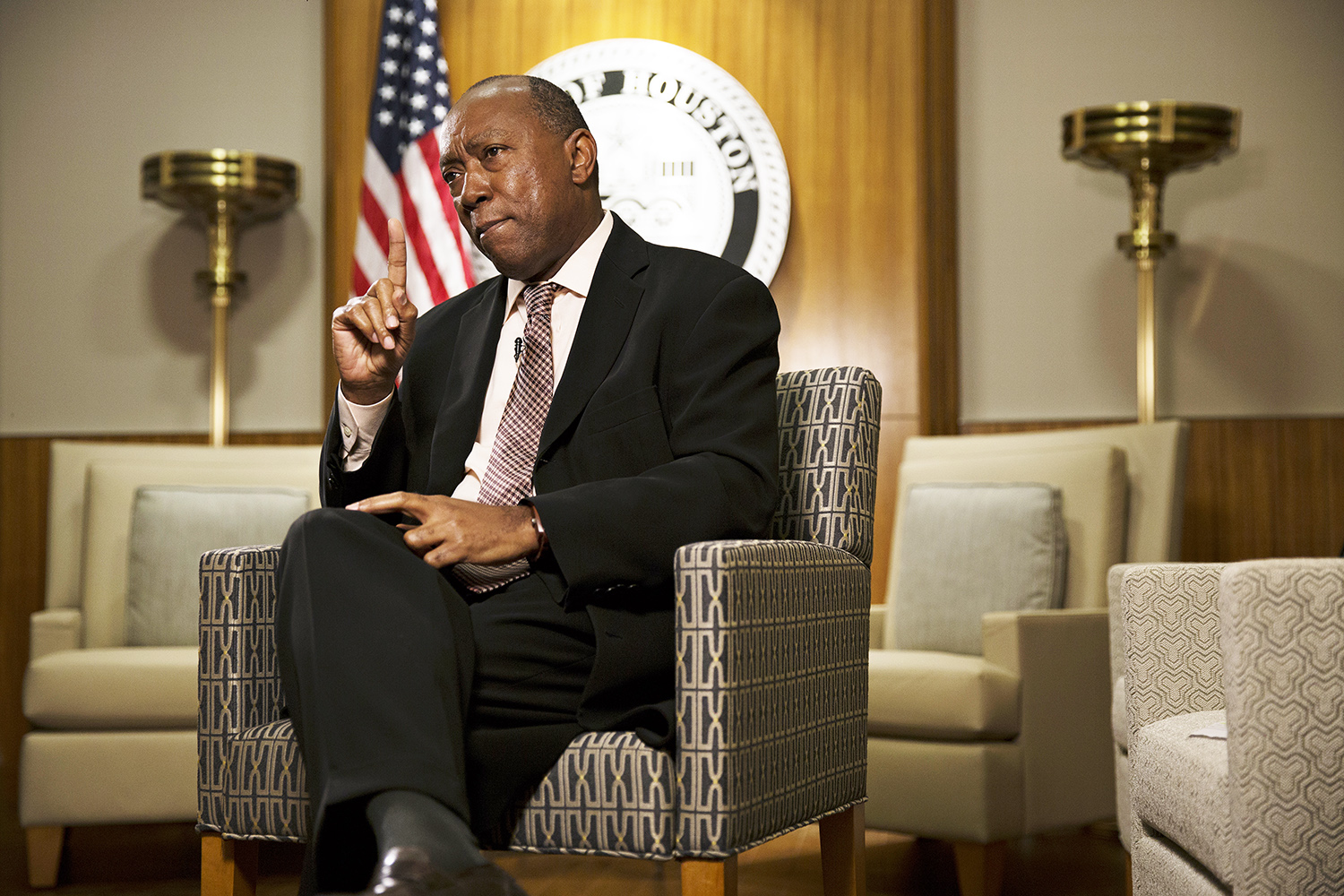 Houston Mayor Sylvester Turner pictured in his City Hall office in September 2017.
