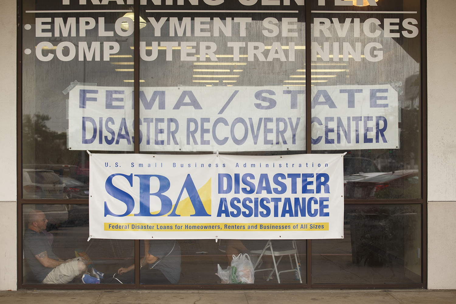 A Federal Emergency Management Agency disaster recovery center, where Harvey victims can register for assistance and find a number of other services from state, federal, and local organizations. There are currently two in the county— this one in Beaumont, one in Port Arthur. Ken Higginbotham, a FEMA spokesman in Beaumont, said that flood damage was so extensive in Jefferson County that the agency had trouble finding a suitable location for them.