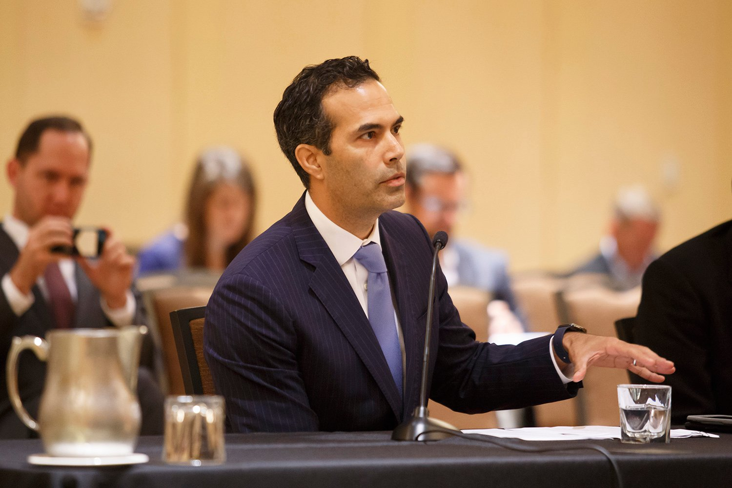 Texas Land Commissioner George P. Bush speaks to the Texas House Urban Affairs Committee during a special Houston meeting on Hurricane Harvey in October 2017.