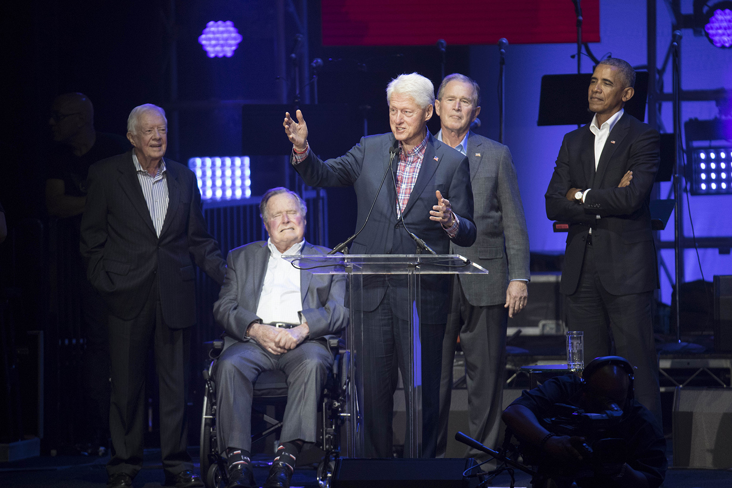 "Former President Bill Clinton speaks at the concert benefiting hurricane relief efforts called ""Deep From the Heart: The One America Appeal,"" in College Station on Saturday, Oct. 21, 2017."