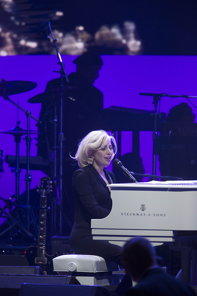 Musician Lady Gaga does her soundcheck before a concert for hurricane victims held in College Station on Oct. 21, 2017.