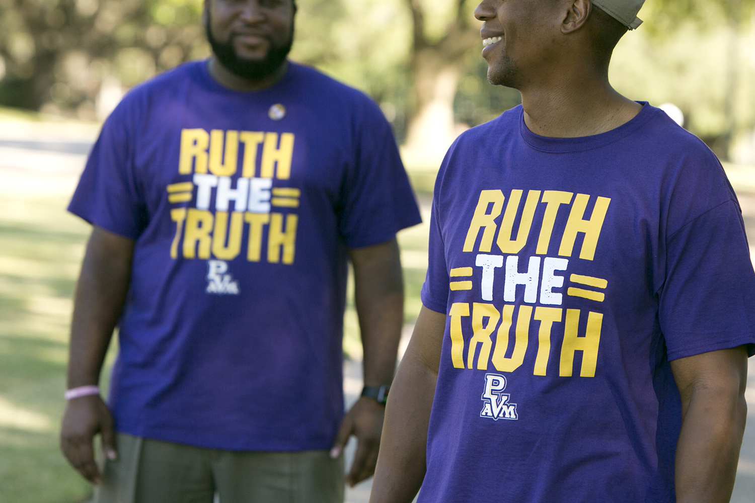 Students on the Prairie View A&M University wear shirts in support of the interim President Ruth Simmons, who is the sole finalist for the position of permanent president.