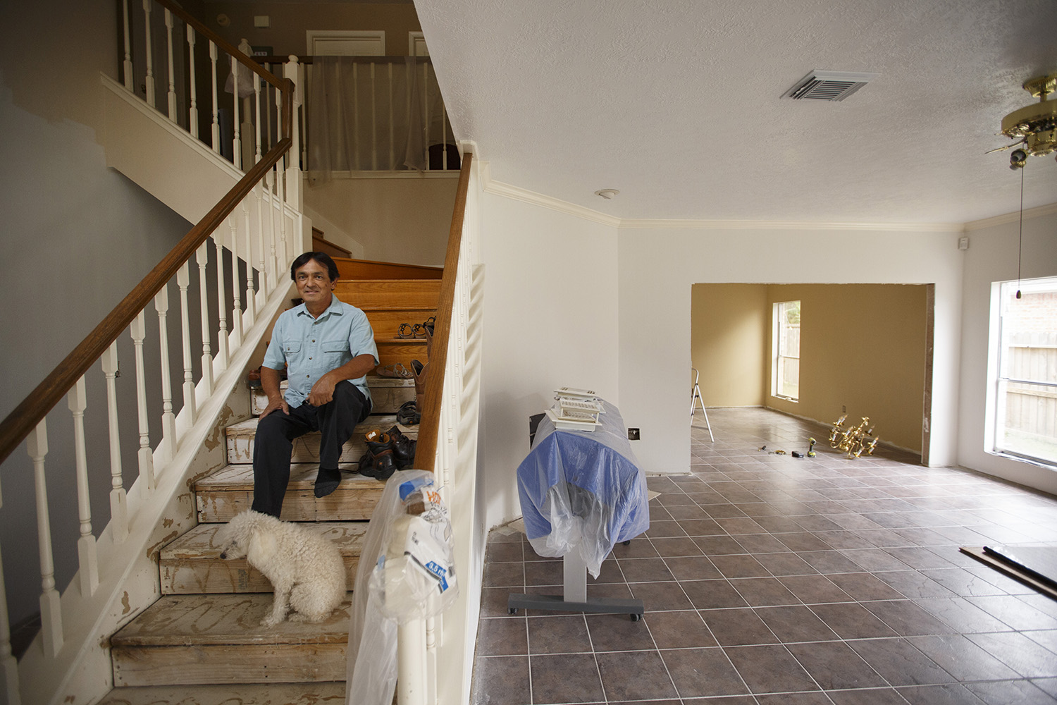 Gabriel Segovia at his home in north Houston on Friday, Oct. 20, 2017. Segovia and his wife decided to remain in their home during renovations after it flooded during Hurricane Harvey.