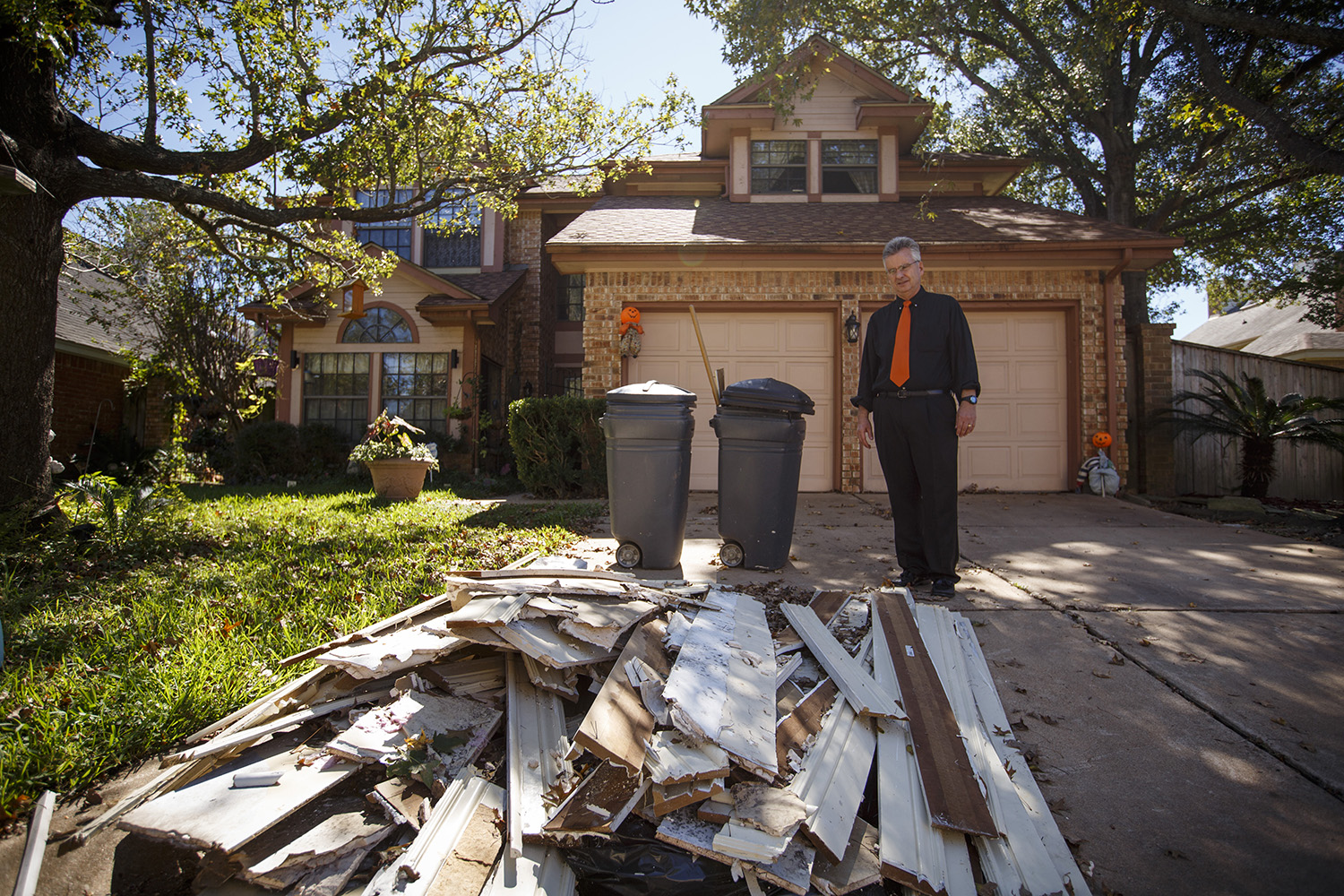 Michael Bolton at his home in northwest in Houston on Monday, Oct. 23, 2017. Bolton said his house is eligible for a buyout under FEMA criteria but doesn't qualify under local flood control district criteria.