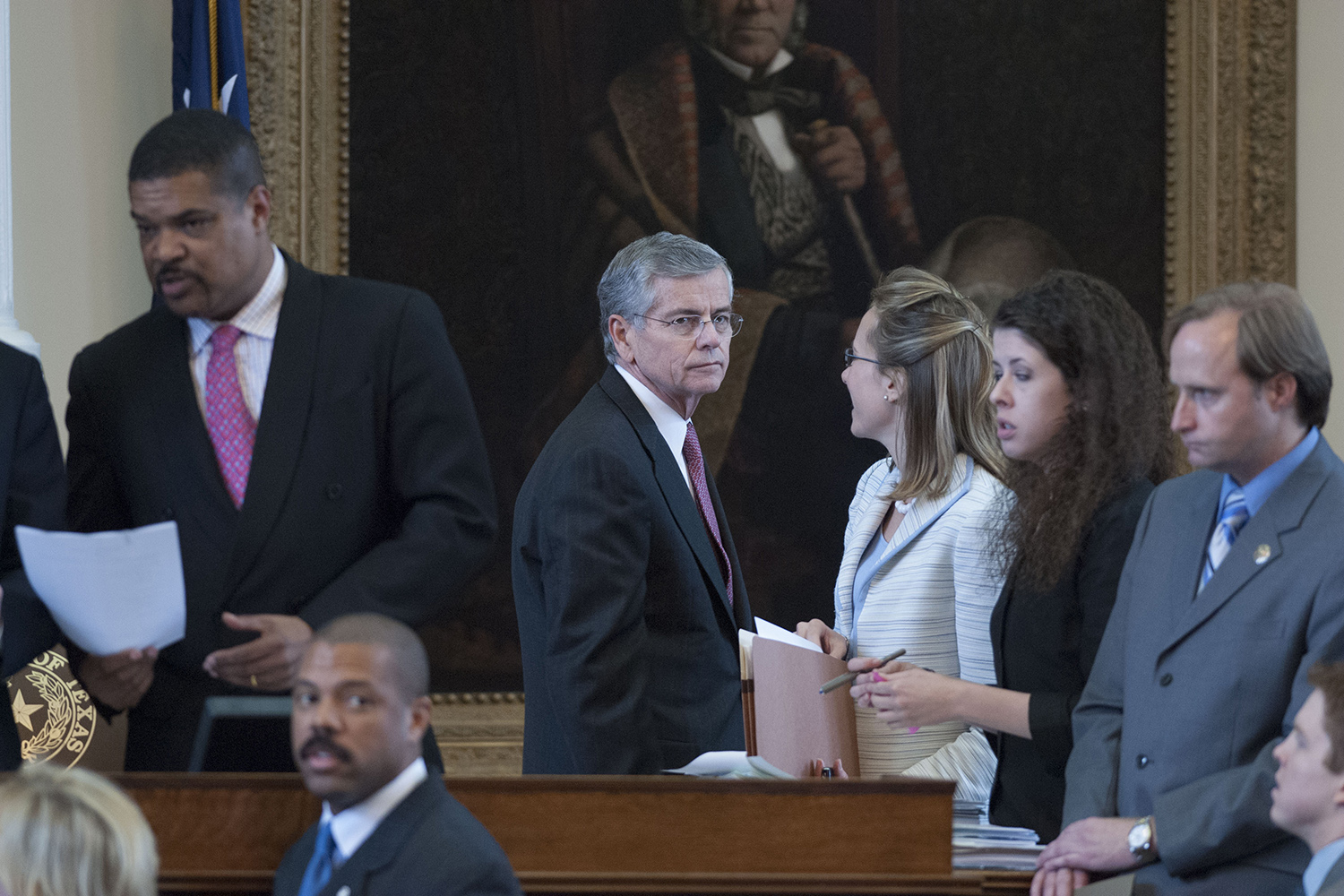 Texas House Speaker Tom Craddick, center, on May 26, 2007, the day after some House members tried to have him removed from the dais.