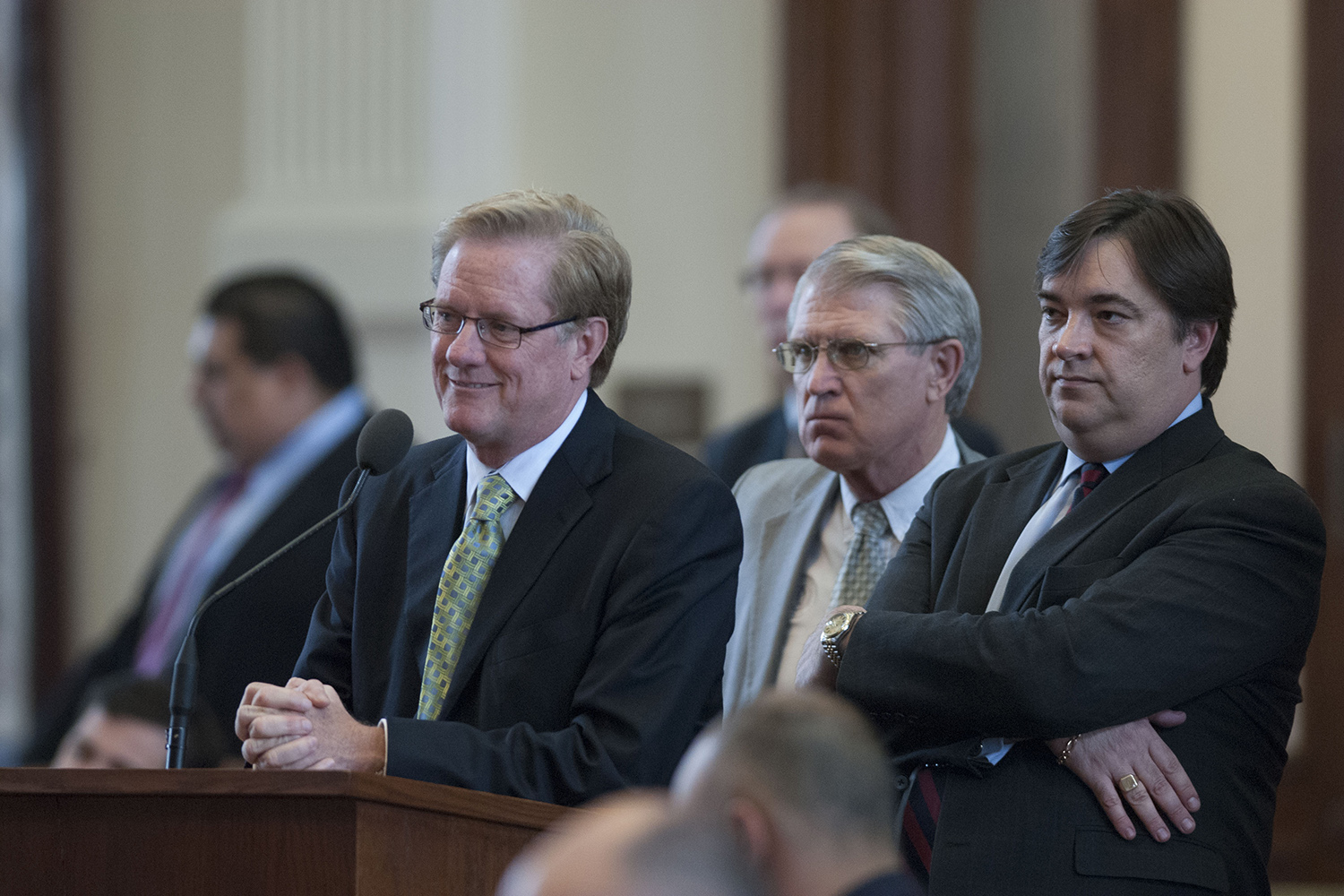 From left to right: State Reps. Jim Pitts, R-Waxahachie, Robert Talton, R-Pasadena, and Jim Dunnam, D-Waco, in the Texas House on May 26, 2007.
