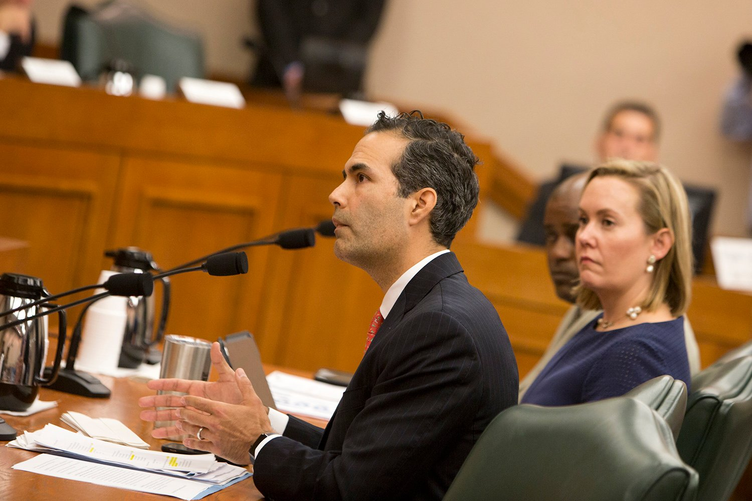 Texas Land Commissioner George P. Bush is shown testifying before the Senate Finance Committee on Dec. 5. A spokesman for the Texas General Land Office, which Bush oversees, says the office's Alamo management plan is often misconstrued.