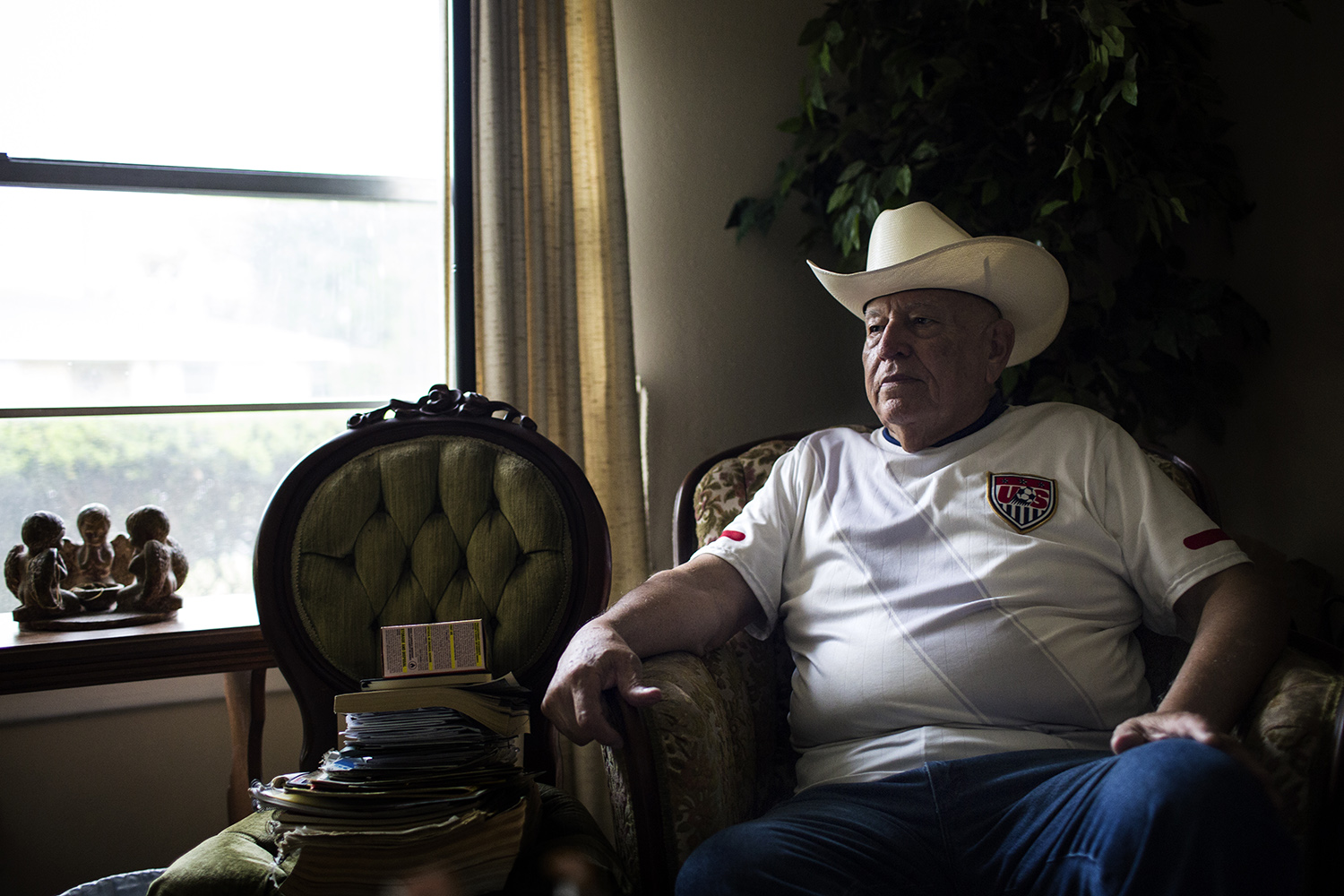 Ernesto DeLeon in his home in Brownsville on Aug. 10, 2017.