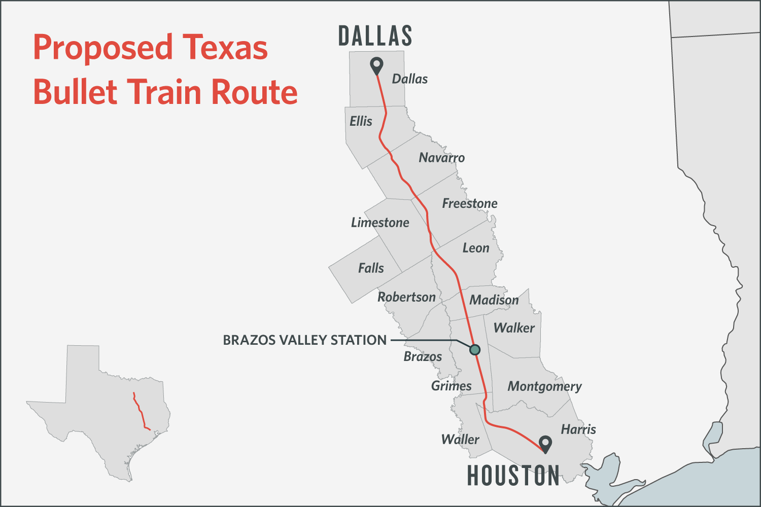 Central Texas Partners in December released this map showing the likely route of a high-speed rail line between Dallas and Houston.
