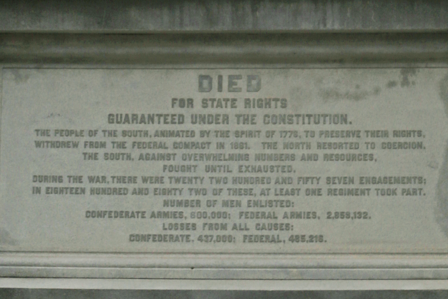 The plaque on the Confederate Dead Monument on the South Lawn of the state Capitol in Austin on Jan. 16, 2018.