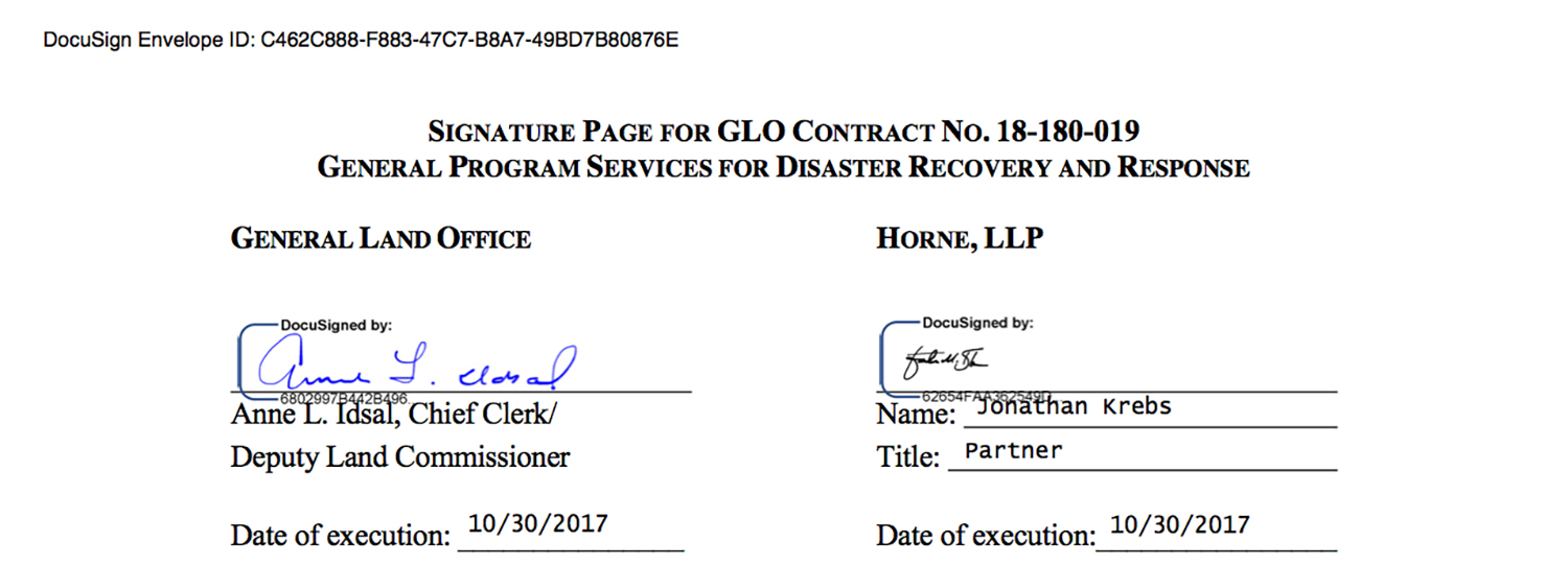 The Texas General Land Office, led by Republican Land Commissioner George P. Bush, signed a contract with Horne LLP for Harvey disaster recovery services on Oct. 30, 2017. On Nov. 2, 2017, three days later, Bush received $27,500 from Horne executives, including Jonathan Krebs, who signed the contract. Krebs gave Bush $1,000.