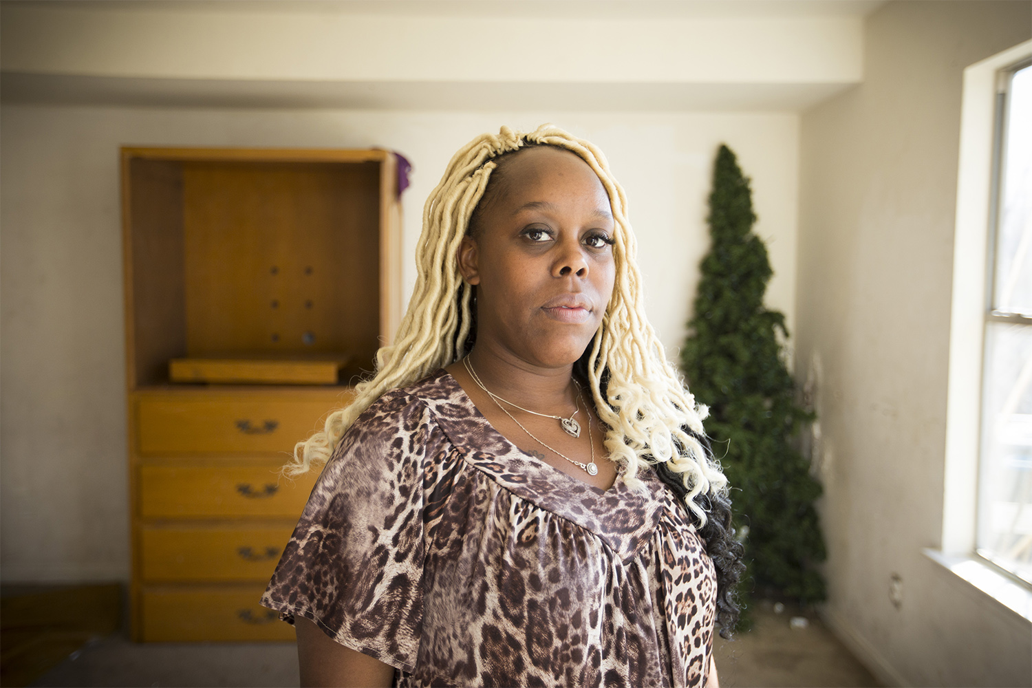 Ikeyraura Shorts at her home in Houston. She says her 16-year-old son was locked up for more than two weeks in Harris County's juvenile detention center after he got into a fight at school.