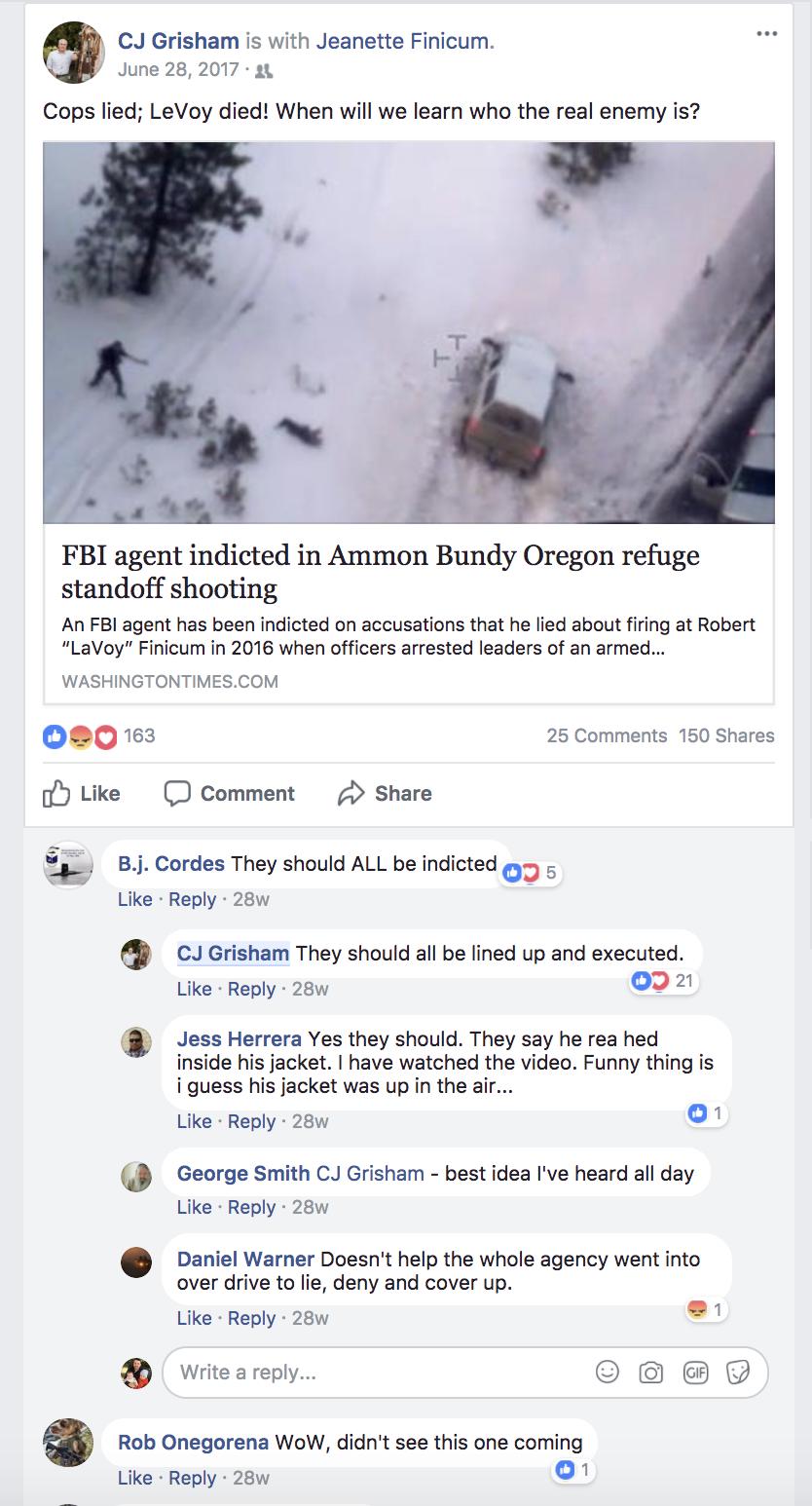 A Facebook post about the arrest of an FBI agent written Texas House candidate CJ Grisham.