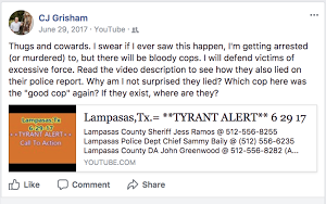 A Facebook post about excessive force by police written Texas House candidate CJ Grisham.