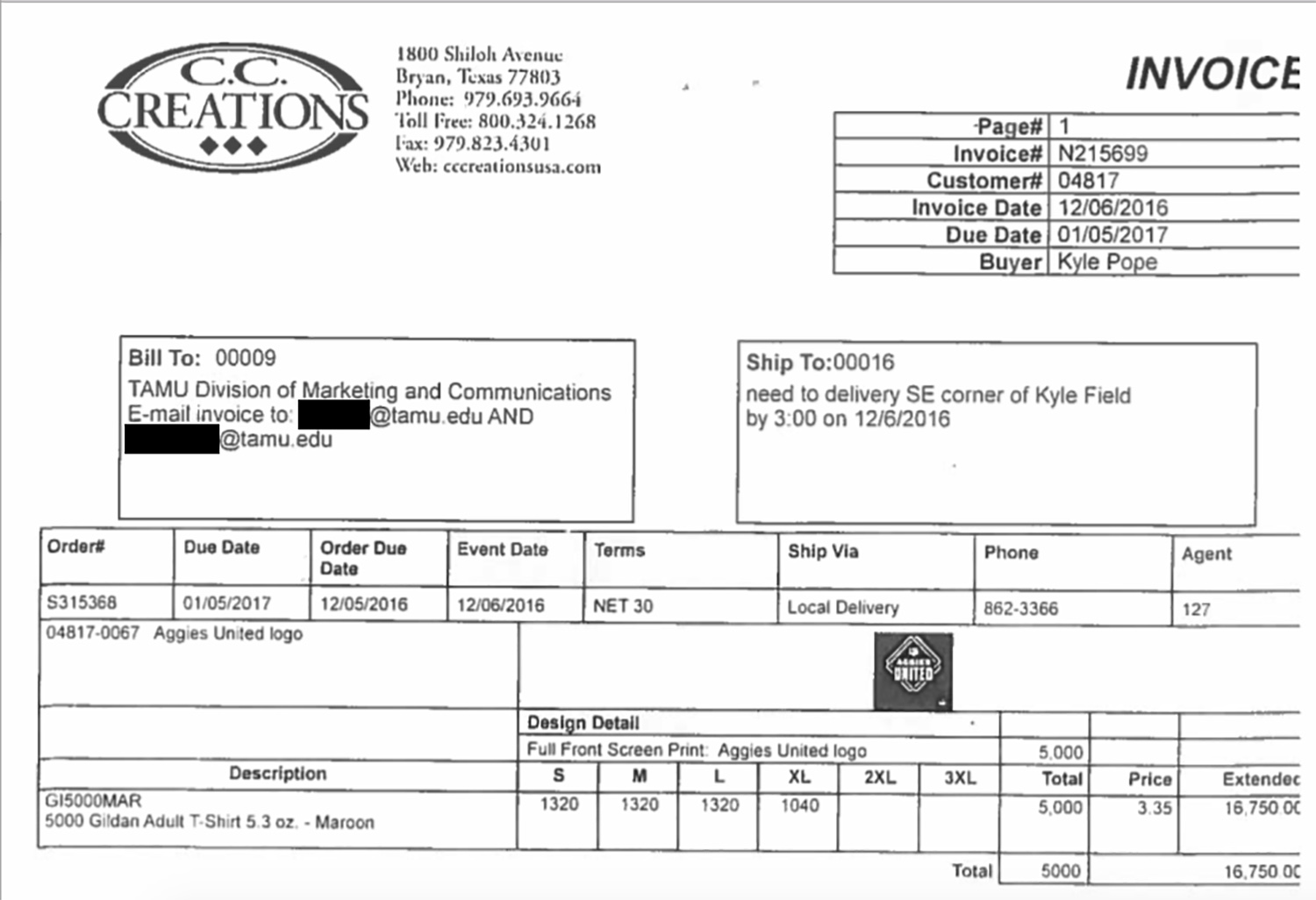Texas A&M University receipt provided to The Texas Tribune through an open records request.