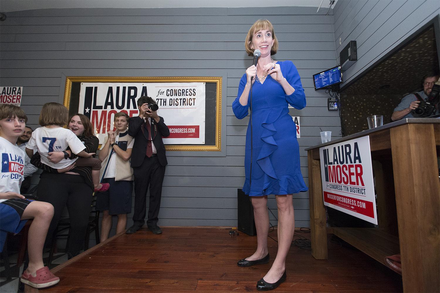 Democratic primary candidate for the 7th congressional district Laura Moser cheers with supporters at a watch party in Houston in Houston on Mar. 6, 2018.