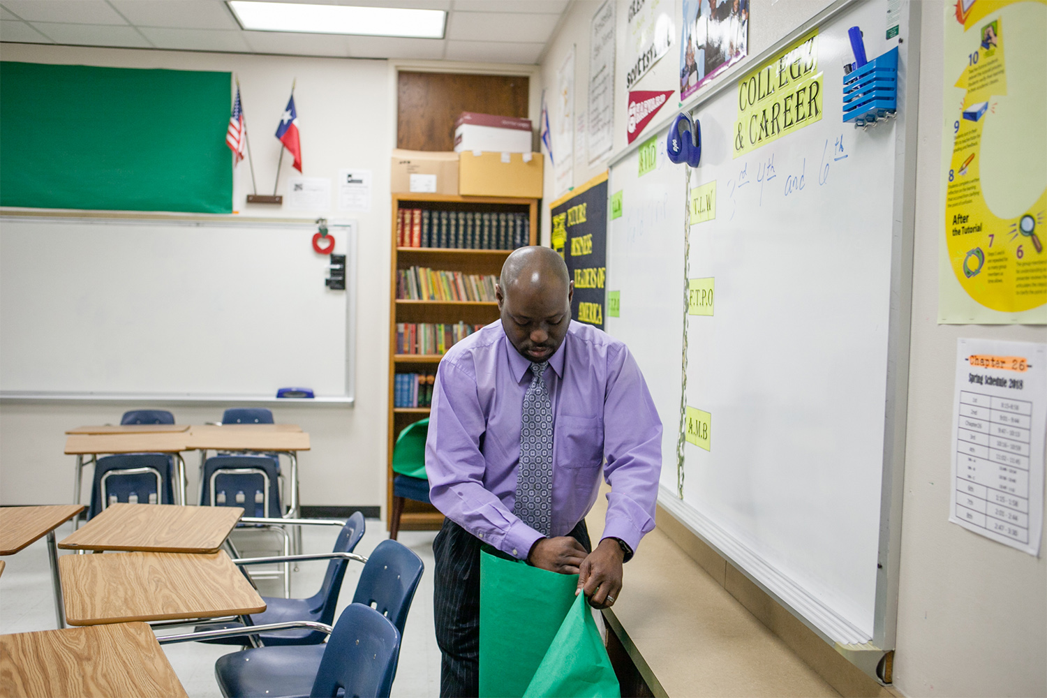 Roderick Scott in his Dallas classroom on March 12, 2018, is an AVID and college career instructor, campus parent engagement specialist and after hours site coordinator.