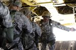 Texas National Guardsmen from C Co, 3-124th CAV go through jump drills.