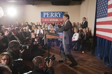 Gov. Rick Perry gives his last campaign speech of 2011 in Boone, Iowa, on Dec. 31, 2011.