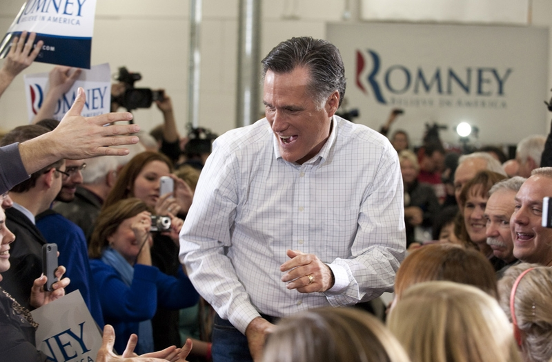 Mitt Romney at a rally in Des Moines, Iowa, on Jan. 2, 2012.