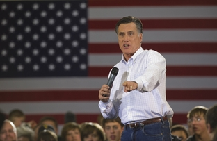 Mitt Romney speaking to a crowd of supporters in Des Moines on Jan. 2, 2012, the eve of the Iowa caucuses.