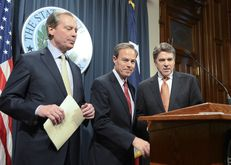 Lt. Gov. David Dewhurst (left), House Speaker Joe Straus and Gov. Rick Perry met with reporters on Jan. 9, 2013, the second day of the 83rd legislative session.