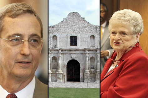 Jerry Patterson, Texas land commissioner (left) and Karen Thompson, president general, Daughters of the Republic