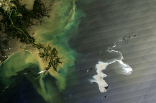 This photo from a NASA satellite shows the oil slick in the Gulf of Mexico on April 25, 2010.