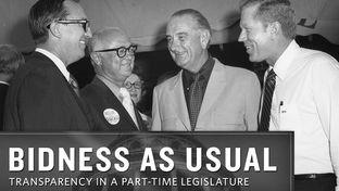 "A portrait of power in Texas in 1970: House Speaker Gus Mutscher, Governor Preston Smith, former president Lyndon Johnson, and Lieutenant Governor Ben Barnes, at ""Gus Mutscher Day"" in Brenham, August 17, 1970."